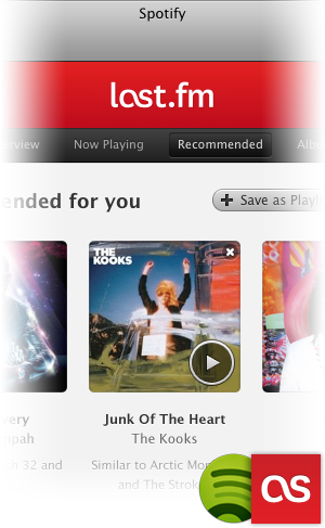 A screenshot of the new Last.fm app in Spotify.